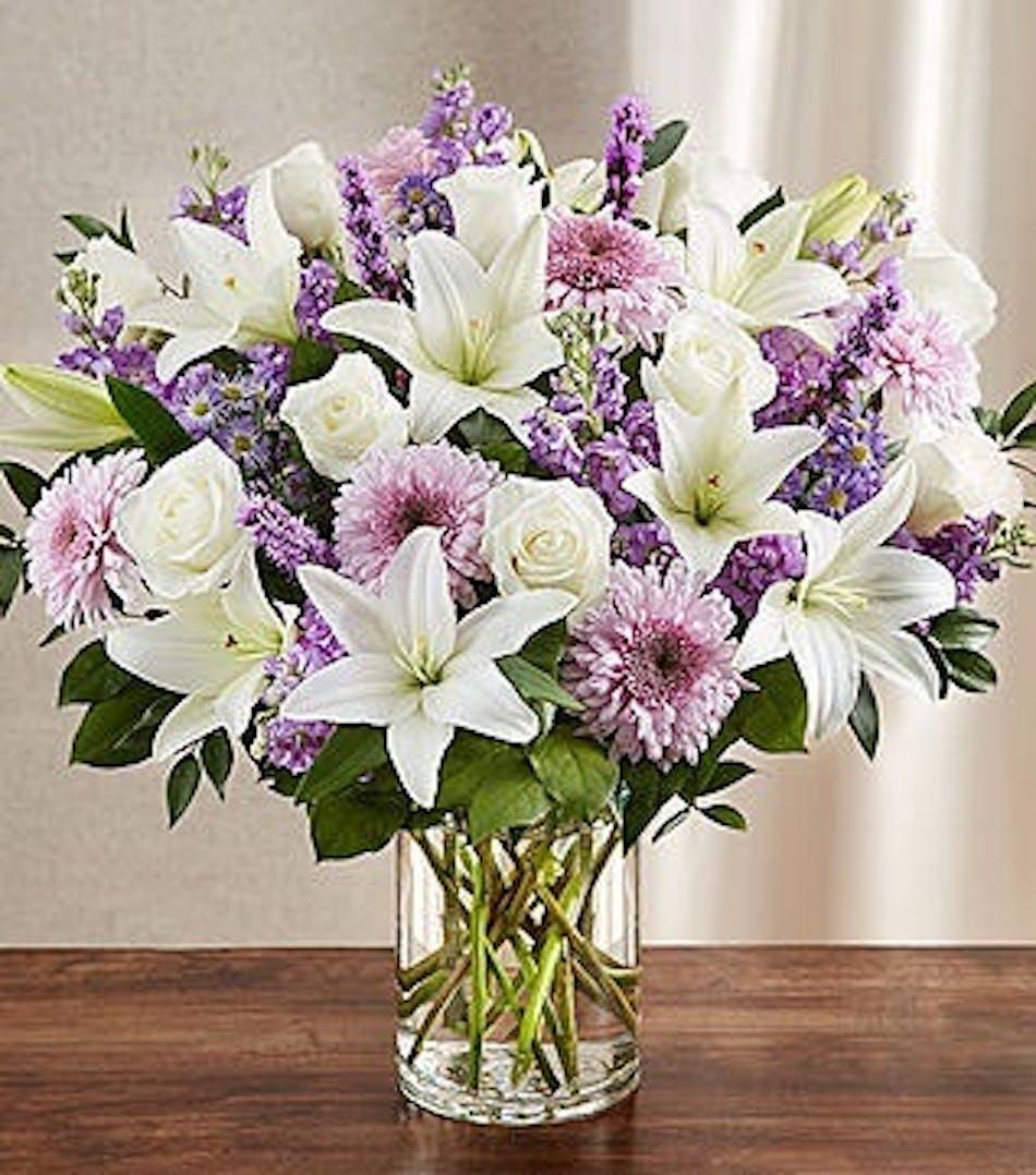 Elegant Funeral Vase In Lavender White