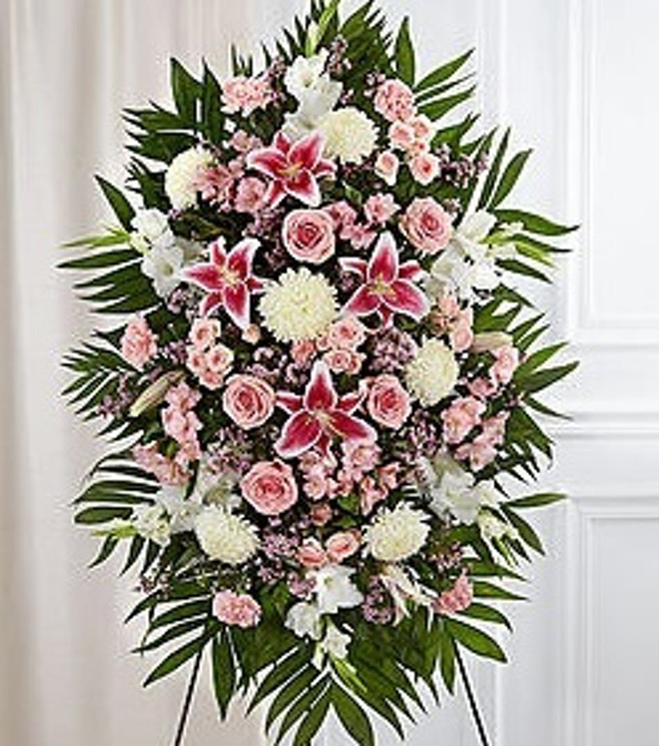 Funeral flowers wreaths baskets sprays and tributes by pink white heartfelt sympathy spray izmirmasajfo