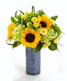 Sunflower Garden Vase featuring sunflowers, hydrangea, roses