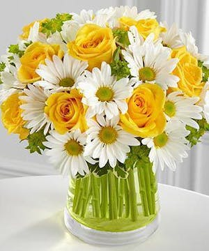 For All You Do Flower Arrangement featuring yellow roses and white daisies