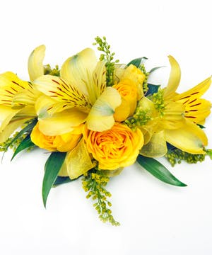 Spring Yellow Floral Corsage - Mixed Varieties