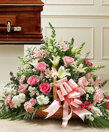 Pink and White Sympathy Flowers, Roses and Lilies, Fireside Funeral Basket Atlanta