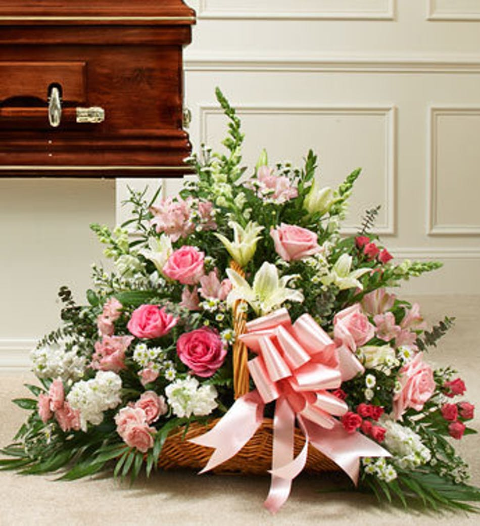 Pink And White Sympathy Flowers Fireside Funeral Basket Atlanta