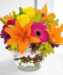 Lilies, Roses, Daisies Flower Arrangement, Carithers Flowers Atlanta