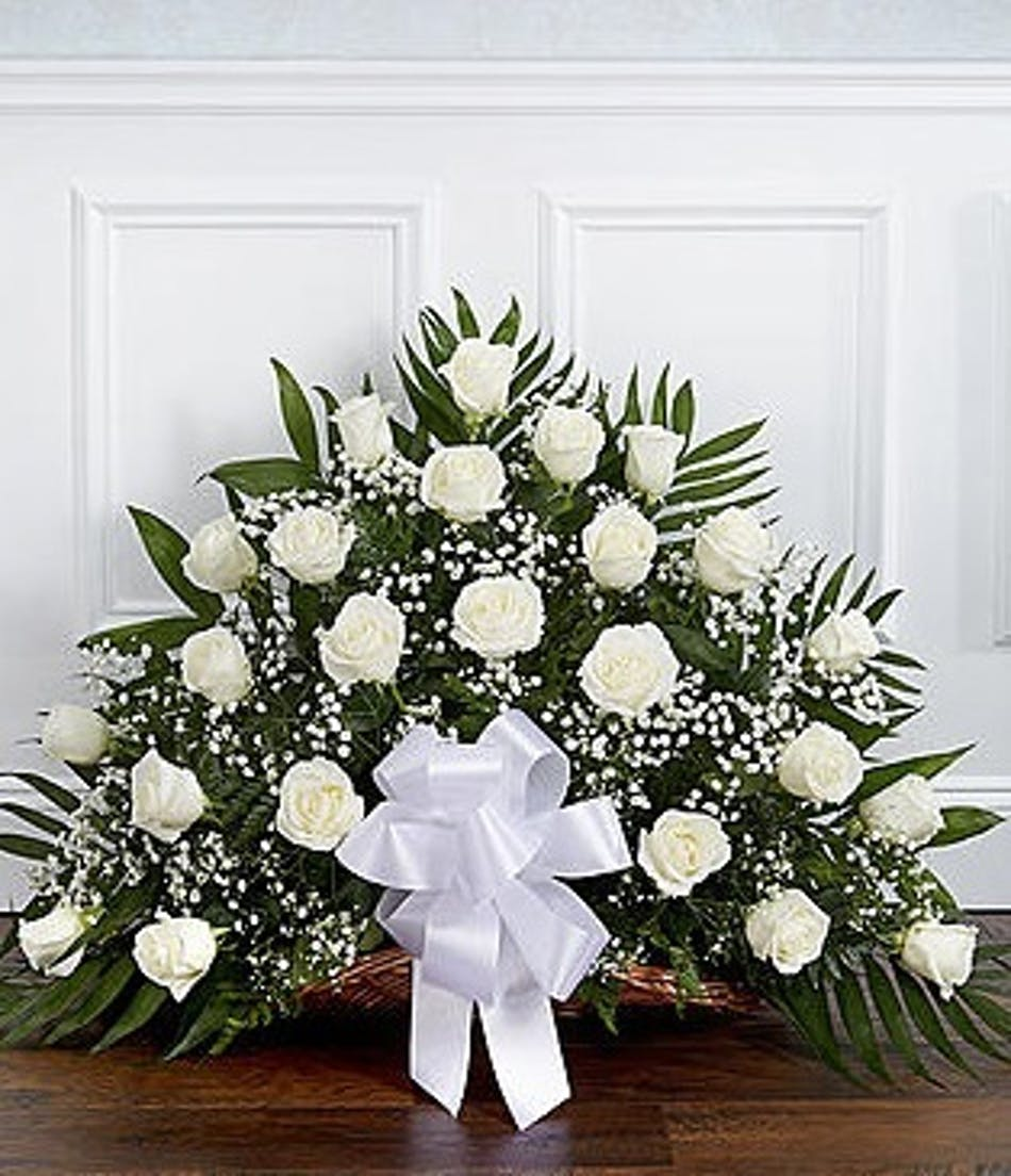 Sympathy Fireside Basket With White Roses