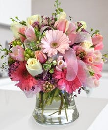 Beautiful pink flowers, roses and tulips, Carithers Flowers Atlanta