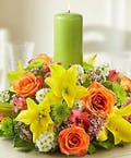 Spring Pastel Centerpiece with Candle