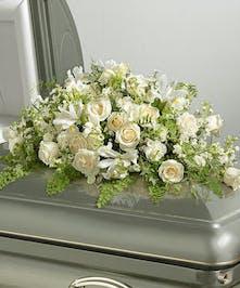 Elegant White Casket Flowers
