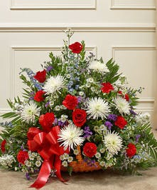 Fireside Basket in Red, White & Blue