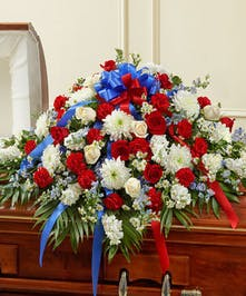 A Beautiful Casket Cover in Red, White and Blue