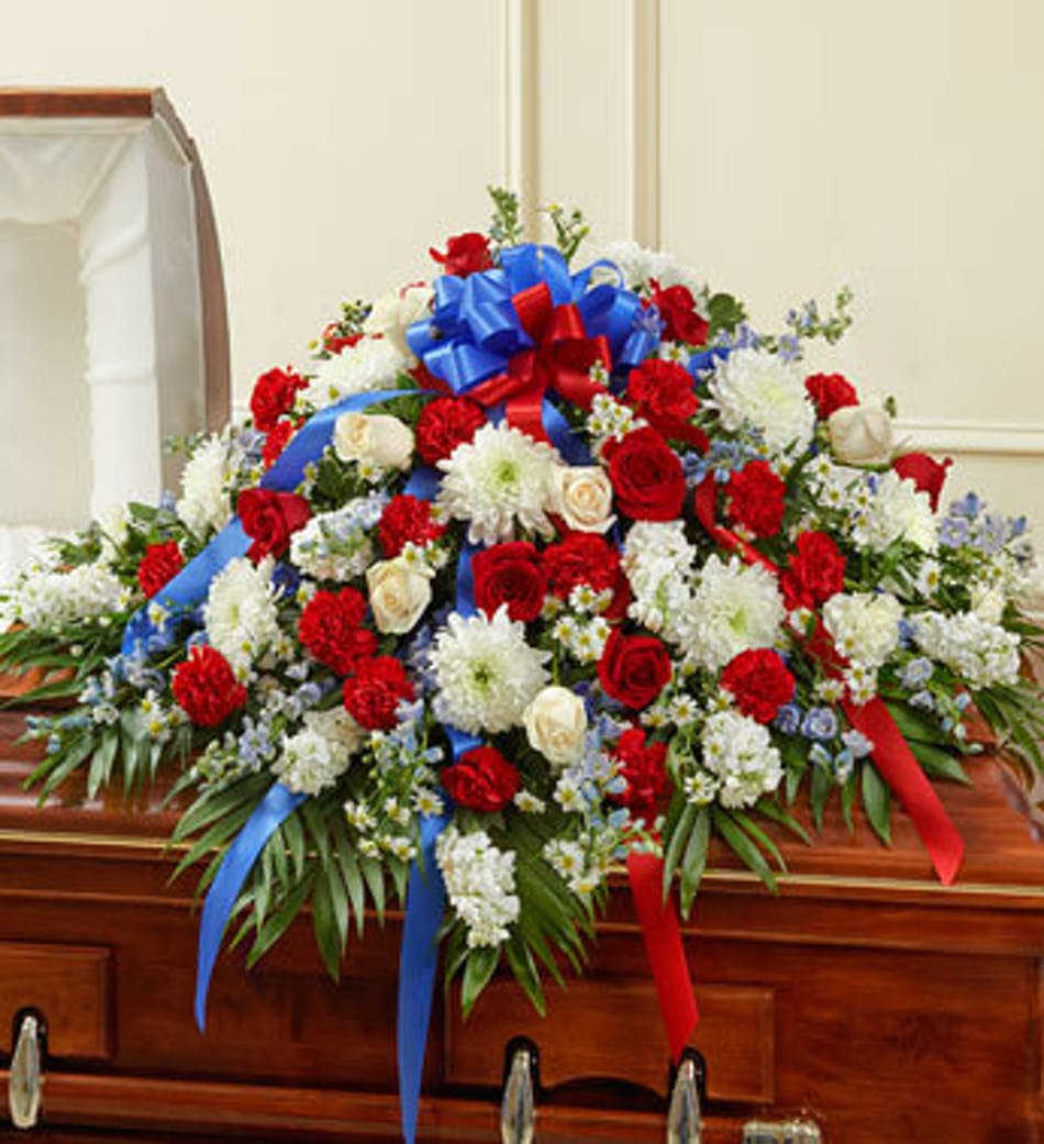 Funeral casket cover in beautiful patriotic red white and blue delivery by 11am today available order within izmirmasajfo