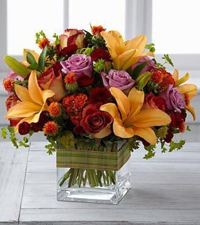 Orange Lilies, Purple & Lavender Roses, Fresh Flower Arrangement Atlanta, Marietta