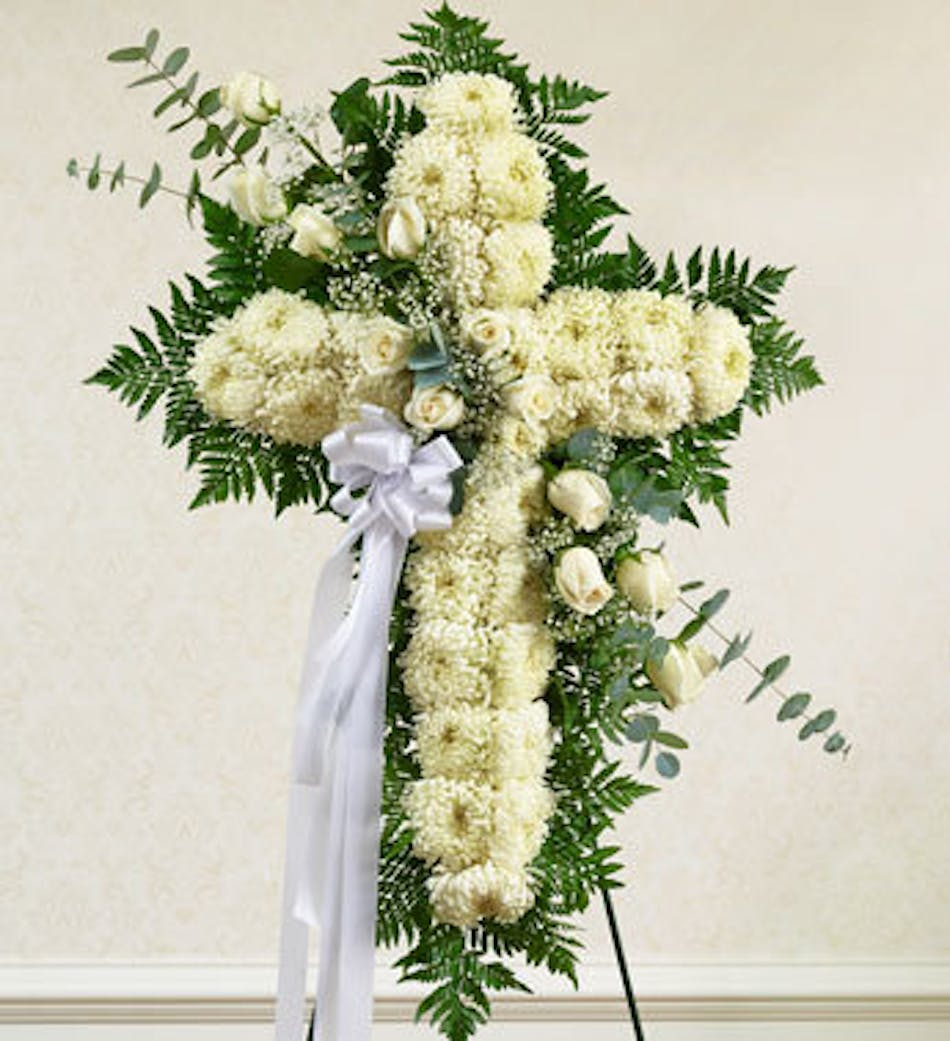 Funeral Arrangement White Cross With Roses