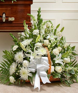 Elegant White Flowers in Floor Basket