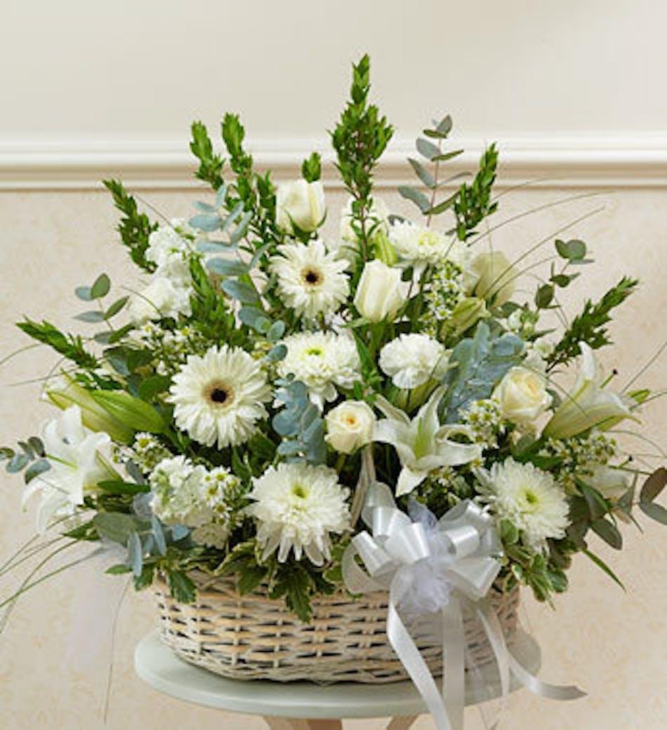 Sympathy Garden Basket In White