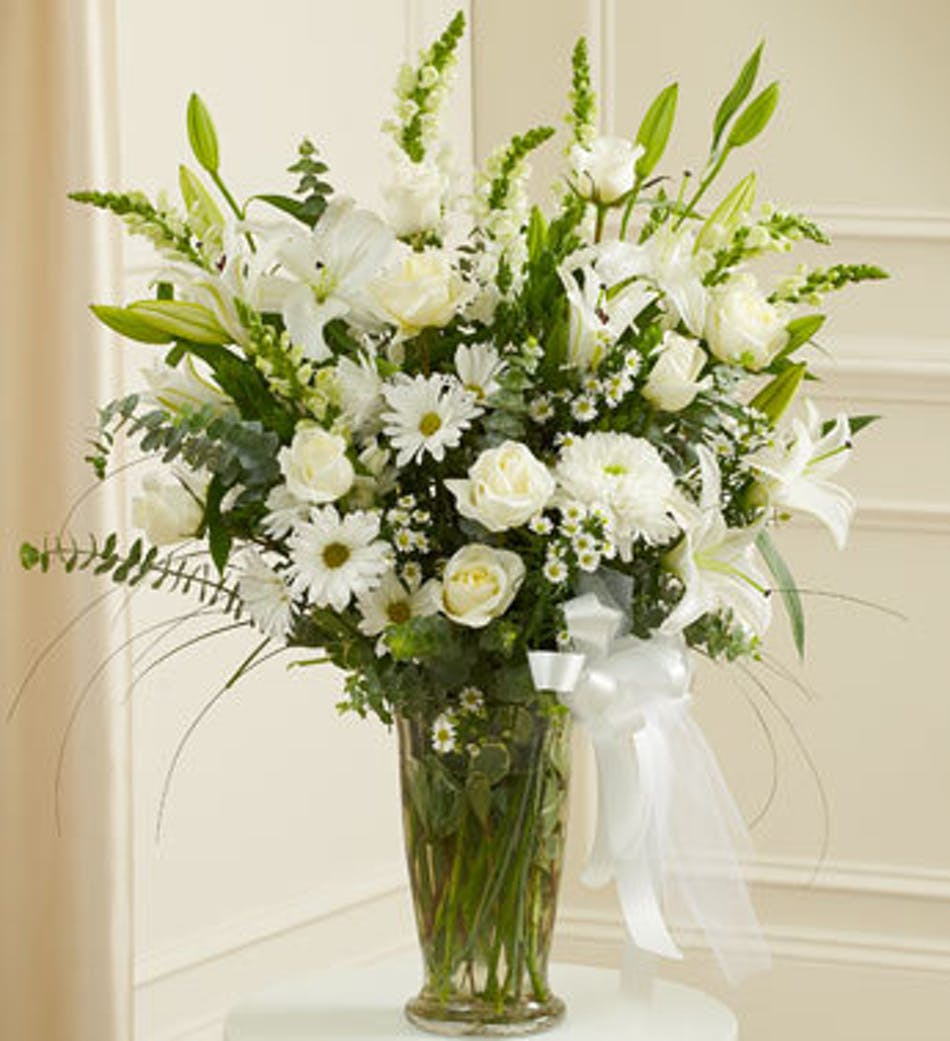 Sympathy Vase of White Flowers