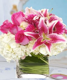Hydrangea, Stargazer Lilies, Pink Roses Flower Arrangement Carithers Atlanta