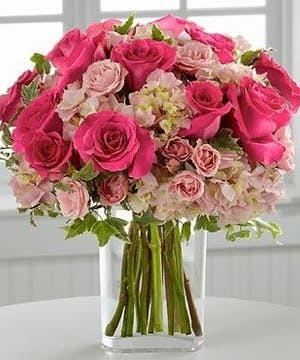 Marietta Blushing Rewards Flower Arrangement, Pink Hydrangea and Roses