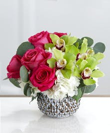 Buckhead Blooms Arrangement, Hydrangea, Roses, Orchids, in a keepsake decor container