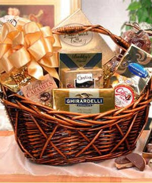 gourmet gift basket, gourmet chocolates, edible treats