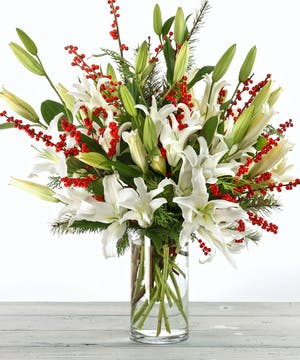Christmas White Mountain Lilies and Ilex Berries by Carithers Flowers Atlanta