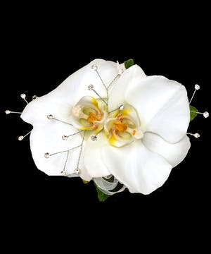 Double White Phaleonopsis Orchid Wrist Corsage with Diamonds
