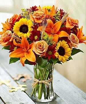 Fall Flower Arrangement of sunflowers, lilies, roses, Delivery in Atlanta