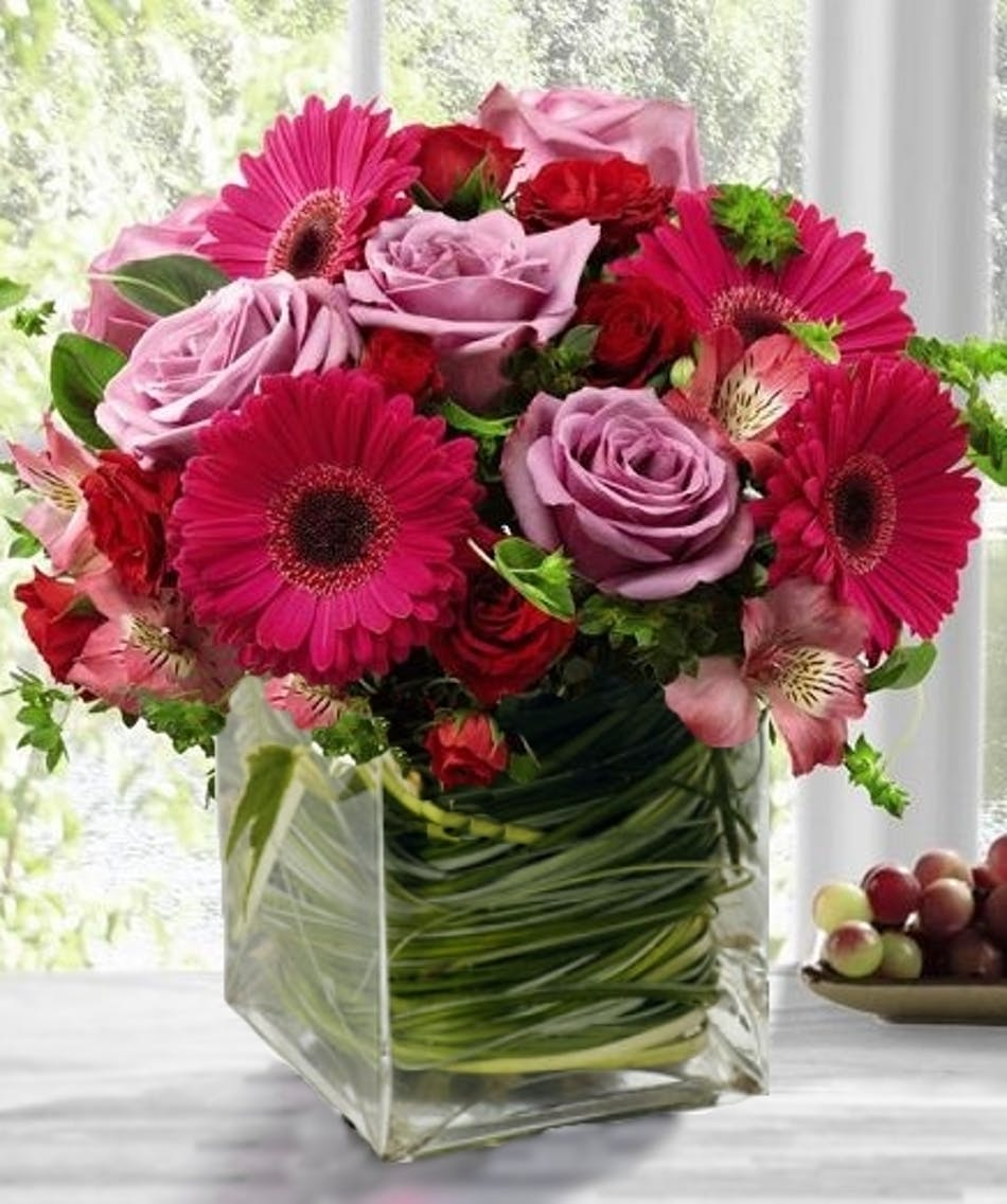 Pink Flowers Luxury Cube Floral Arrangement Same Day