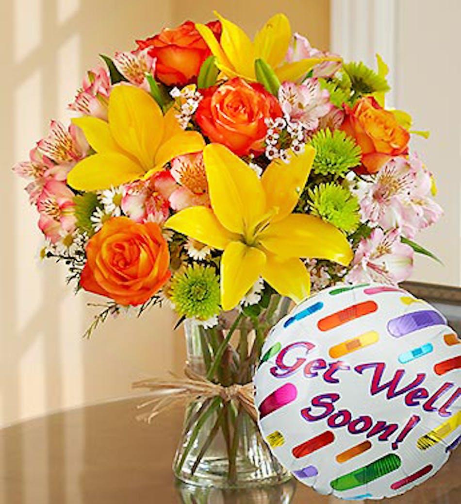 Get Well Soon Bouquet w/Mylar: includes a Get Well Soon Mylar ...