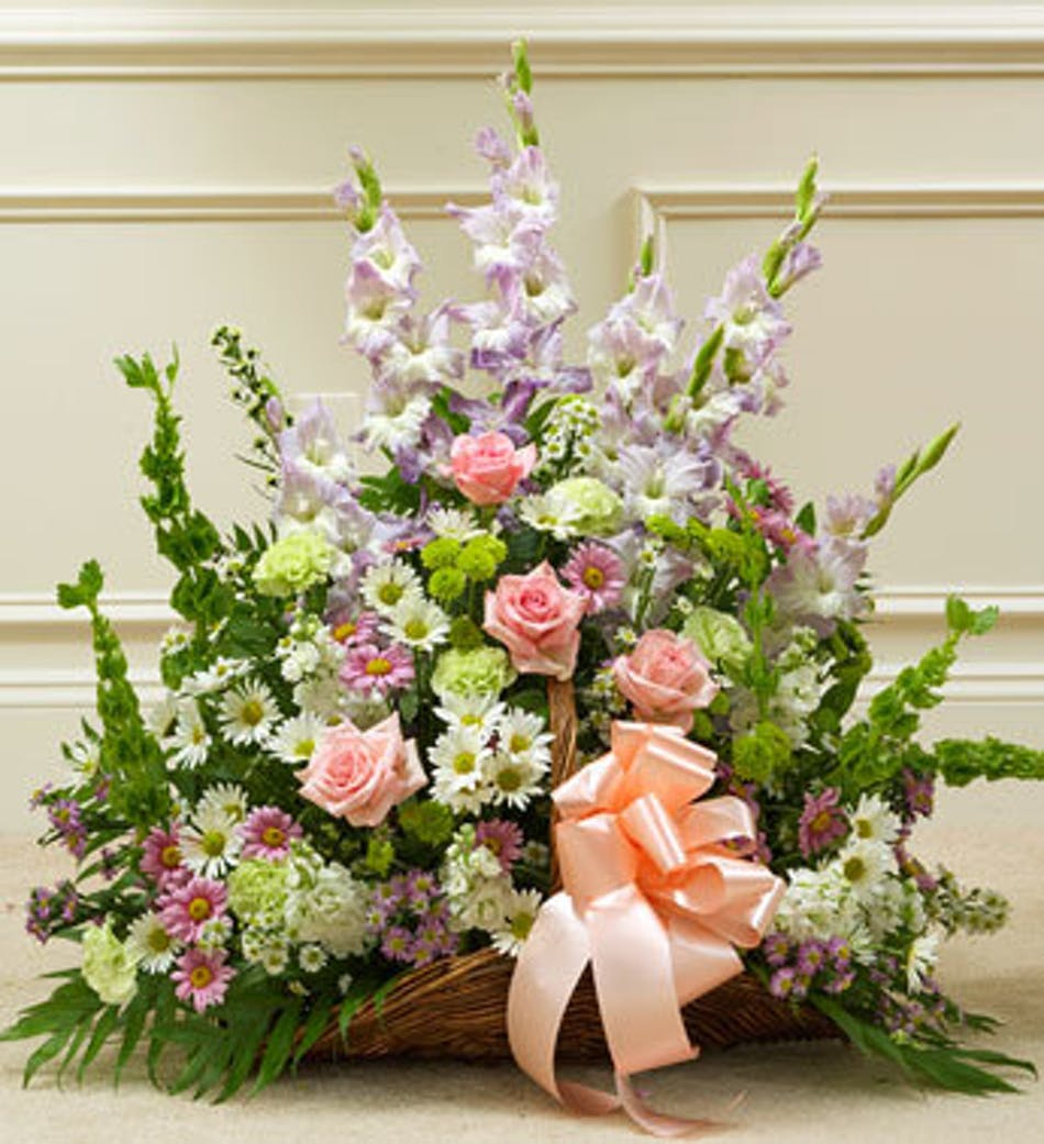 Funeral flowers fireside basket in pastel best florist atlanta delivery by 10am tomorrow available order within izmirmasajfo