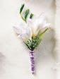 Free Spirit Freesia Boutonnierre w/ lavender ribbon wrap
