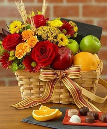 Fruit and Flowers Gift Basket, Carithers Flowers Atlanta, Alpharetta, Lawrenceville, Marietta, Roswell