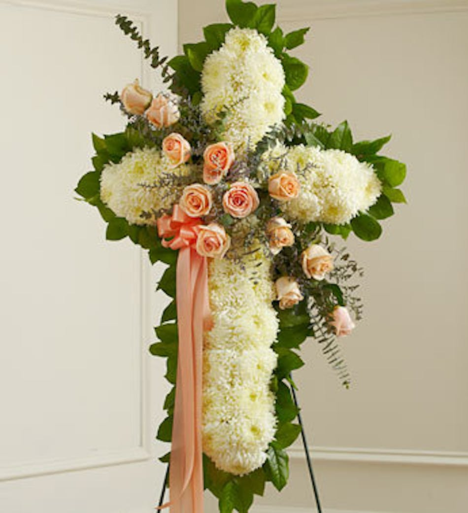 Standing sympathy cross with peach accent available for nationwide delivery izmirmasajfo