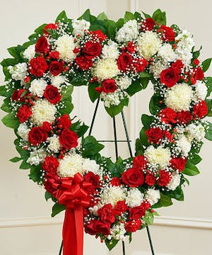 A Standing Open Heart Designed in Red & White Flowers
