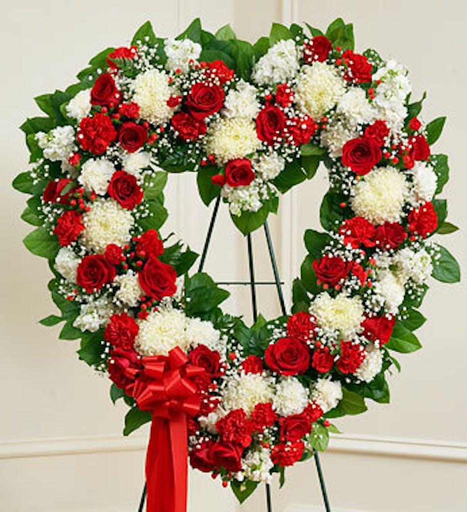 Funeral Flowers In Standing Open Heart