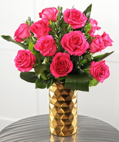 Perfect Hot Pink Roses featuring longer stems and vase life, this