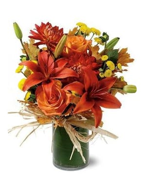 Orange Lilies, Roses, Unusual Flower Arrangement, Carithers Flowers Atlanta