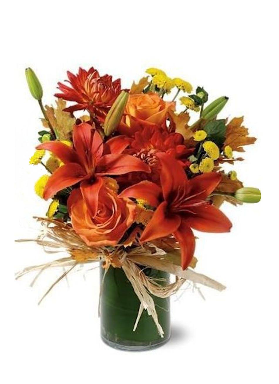 Autumn Flower Arrangements Orange Zest Design Carithers Florists