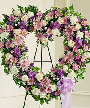 Elegant Purple and White Heart Shaped Wreath on Stand