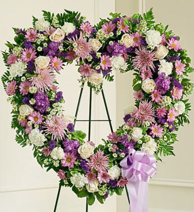 Heart Shaped Funeral Wreath In Lavender