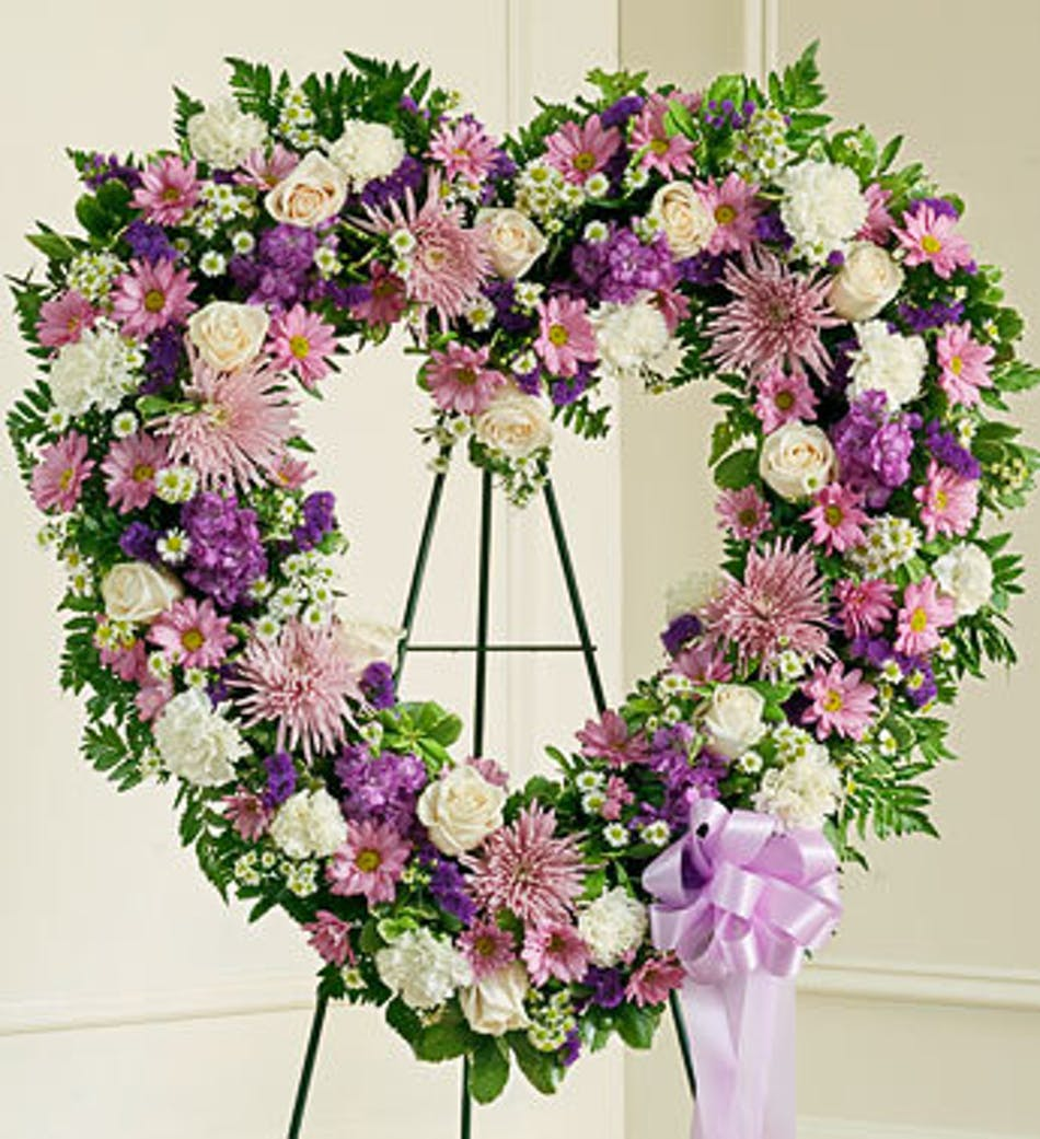 Heart shaped funeral wreath in lavender delivery by 3pm today available order within izmirmasajfo