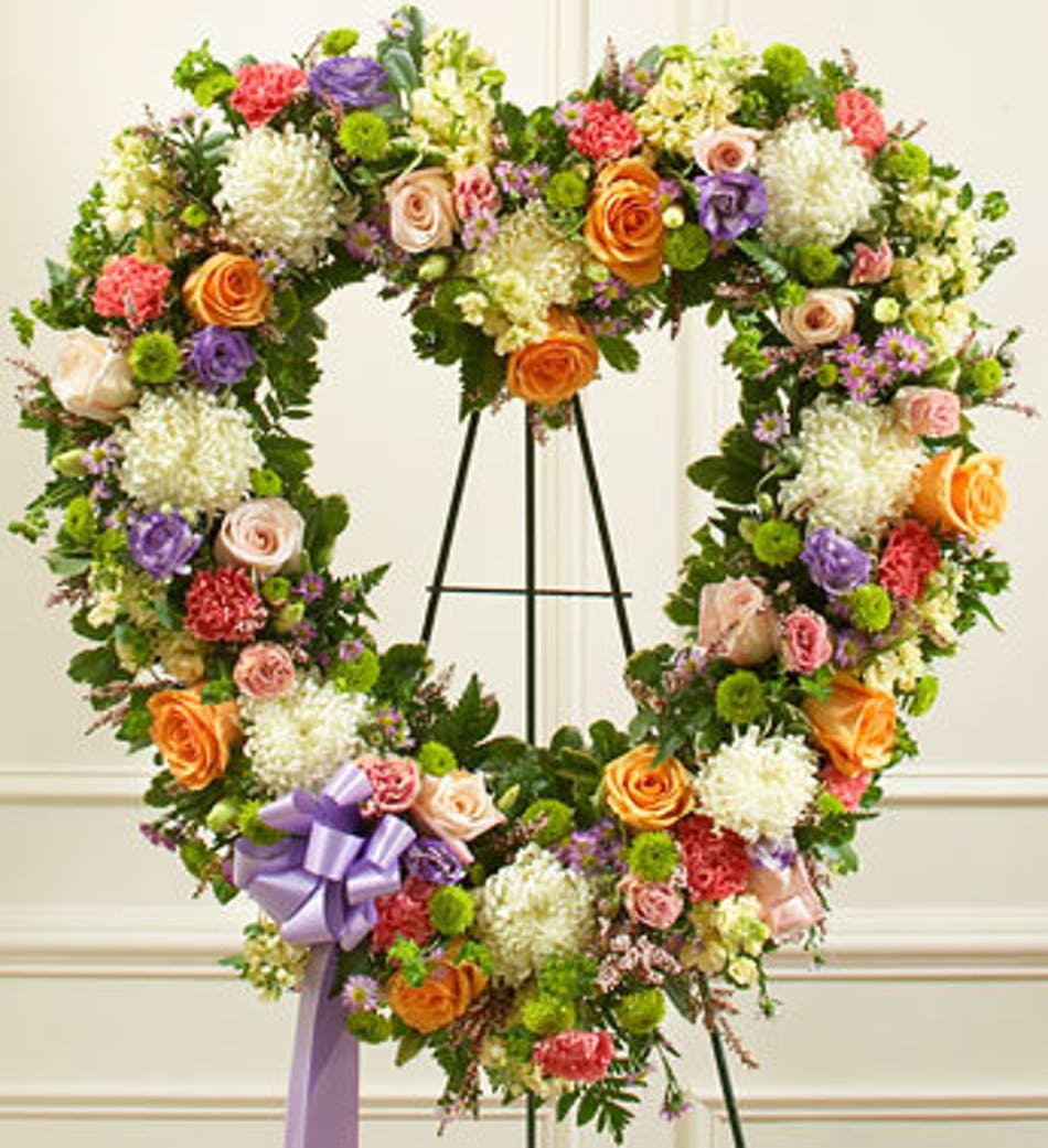 Heart Shaped Funeral Wreath In Pastel Colors
