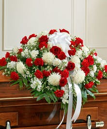 An Elegant Casket Cover of Red Roses & White Mums