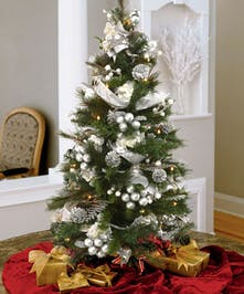 Deliver a Lighted and Decorated Silver Tabletop Christmas Tree, stands 3 feet tall
