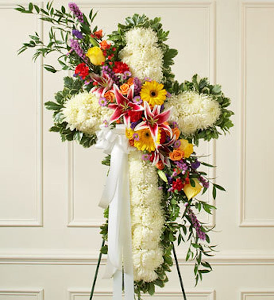 Sympathy cross funeral arrangement delivery today available order within izmirmasajfo