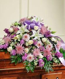 Elegant Casket Cover with Lavender Flowers