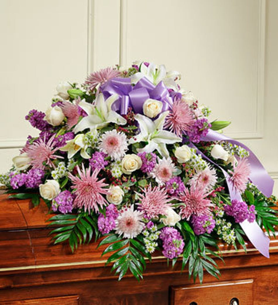 Funeral casket cover in lavender available for nationwide delivery izmirmasajfo