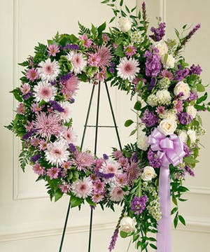 Standing Wreath with Lavender & White Flowers