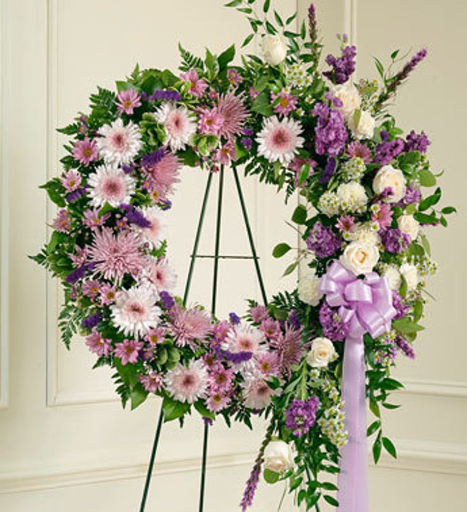 Funeral flowers wreaths baskets sprays and tributes by lavender sympathy wreath izmirmasajfo