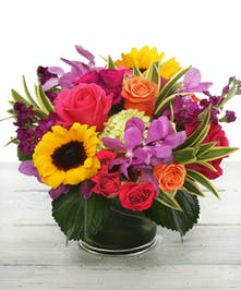Vibrant Expressions arrangements features garden sunflowers, roses and orchids